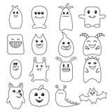Duży set śmieszni Halloweenowi doodle potwory Fotografia Stock