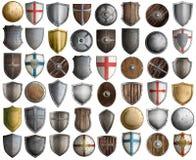 Duży set średniowieczny rycerz osłania odosobnioną 3d ilustrację Zdjęcie Stock