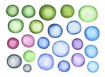 Duży set błękitnej zieleni akwareli etykietka Obraz Stock
