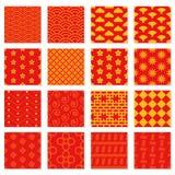 Duży set bezszwowi Japońscy wzory ilustracja wektor