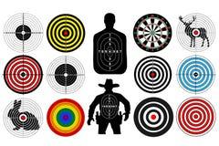 Duży set cele odizolowywający zwierzę kowbojskiego mężczyzna ludzie Cele dla strzelać Strzałki deska ilustracja wektor