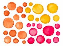 Duży set czerwona żółtego brązu akwareli etykietka Zdjęcia Stock