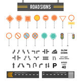Duży set drogowi znaki Drogowych znaków ikony Drogowych znaków pustego miejsca szablon Kierunkowskazy ustawiający Płaski projekt royalty ilustracja