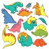 Duży set dwanaście elementów dzieci ` s kreskówki śmiesznych miłych dinosaurów tyrannosaurus, pterodaktyl, diplodokus, triceratop royalty ilustracja