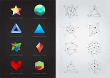 Duży set Geometryczni kształty Niezwykli i Abstrakcjonistyczni kuli ziemskiej loga wektoru sieć Poligonalni Kolorowi logotypy ilustracja wektor