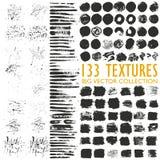 Duży set 133 grungy artystycznej tekstury royalty ilustracja