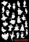 Duży set Halloweenowi latający duchy Obraz Stock