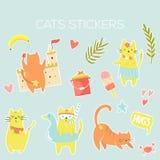 Duży set ikony, majchery śmieszni lato koty ilustracji