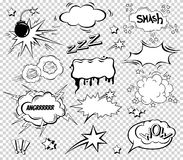 Duży set kreskówka, Komiczni mowa bąble, Pusty dialog Chmurnieje w wystrzał sztuki stylu Wektorowa ilustracja dla komiczki książk ilustracja wektor