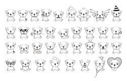 Duży set mali psy z różnymi emocjami i przedmiotami malował z czarnymi liniami na białym tle Buldog - ilustracja ilustracji