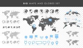 Duży set mapy i kule ziemskie Przyczepia kolekcję Różni skutki Przejrzysta wektorowa ilustracja royalty ilustracja