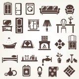 Duży set meble i dom odnosić sie sylwetki i ikony Zdjęcia Royalty Free