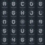 Duży set Nowożytni eleganccy niscy poli- logowie z listami i liczbą Zdjęcie Stock