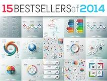 Duży set 15 nowożytnych infographic biznesowego projekta szablonów royalty ilustracja