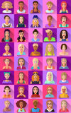 Duży set płaskie ikony różnorodni żeńscy charaktery Obrazy Royalty Free