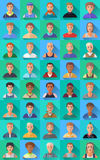 Duży set płaskie ikony różnorodni męscy charaktery Zdjęcie Stock