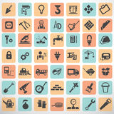 Duży set prac narzędzia i budów ikony Fotografia Stock