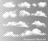Duży set przejrzyste różne chmury i słońce ilustracja wektor