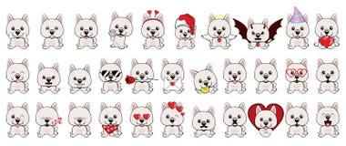 Duży set 32 różnego małego psa szczeniaki z różnymi emocjami royalty ilustracja