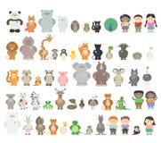 Duży set różni zwierzęta Zoo zwierzęta od różnych kontynentów Obrazy Stock