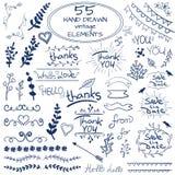 Duży set 55 ręki rysujących projektów elementów wektor niebieski white Zdjęcie Royalty Free