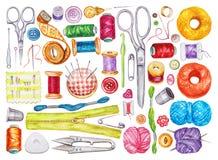 Duży set szy narzędzia różnorodna akwarela kit bawełny igła szwalny naparstek ilustracji