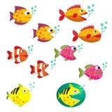 Duży set tropikalne ryba, wektorowa ilustracja Ryba z otwartym i zamkniętym usta z bąblami Rybi mieszkanie stylu wektoru illustra Obraz Stock