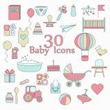 Duży sieci ikony set Dziecko, zabawka, karma i opieka, royalty ilustracja