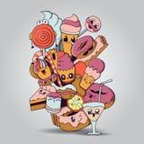 Duży skład piekarnia produktów charaktery Zdjęcie Stock
