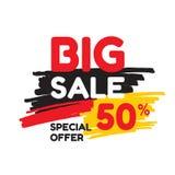 Duży sprzedaż rabat 50% - wektorowa sztandaru pojęcia ilustracja Abstrakcjonistyczny reklamowy promocyjny układ na białym tle ilustracji