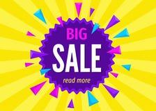 Duży sprzedaż sztandar na jaskrawym kolorowym tle Zdjęcie Royalty Free
