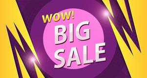 Duży sprzedaż sztandar w kolorze żółtym z purpurowymi kolorami Obrazy Royalty Free