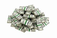 Duży stos pieniędzy amerykańscy dolarowi rachunki bez cienia na białej tła 3d ilustracji ilustracja wektor