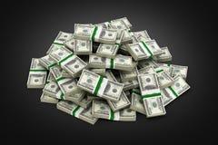 Duży stos pieniędzy amerykańscy dolarowi rachunki na czarnej tła 3d ilustracji ilustracji