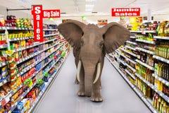 Duży supermarket sprzedaży słoń obrazy stock