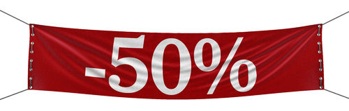 Duży 100% sztandar (ścinek ścieżka zawierać) Zdjęcia Stock