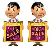duży sztandar sprzedaż Śmieszny mężczyzna trzyma torbę na zakupy obraz stock