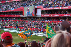 Duży tłum przy rugby dopasowaniem Zdjęcia Stock
