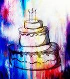 Duży torte na papierowym tła i koloru skutku ręka rysujący obrazka nakreślenie Zdjęcia Royalty Free
