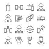 Duży transfer danych i dane odnosić sie wektor ikony kreskowego set Zawiera taki ikony jak chmurę, magazyn, obliczający, mobilny  ilustracji