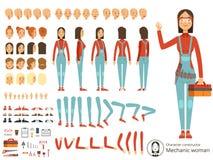 Duży tworzenie zestaw dziewczyna mechanik w pracujących ubraniach Wektorowy konstruktor z częściami ciała royalty ilustracja