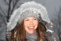 Duży uśmiech w zimie obraz royalty free