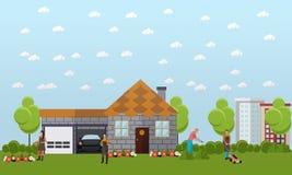 Duży urlopowy dom z zieleń garażem i ogródem ilustracja wektor