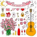 Duży wektorowy doodle set Miłość i uczucia inkasowi Zdjęcie Royalty Free