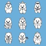 Duży wektorowy ustawiający dziewięć kreskówek niedźwiedzi Fotografia Stock