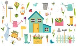 Duży wektorowy ustawiający wiosna i Easter wakacje elementy ilustracja wektor