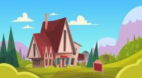 Duży wioska domu lata krajobrazu Zielonej trawy niebieskiego nieba góry tło Fotografia Stock