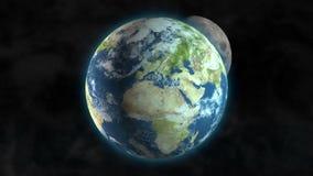 Duży wybuch przynosi kometa deszcz, planety Ziemski przędzalnictwo w kosmosie z księżyc iść wokoło go royalty ilustracja