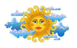 duży złocisty gorący słońce Obrazy Stock