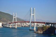 Duży zawieszenie most w Samcheonpo fotografia royalty free
